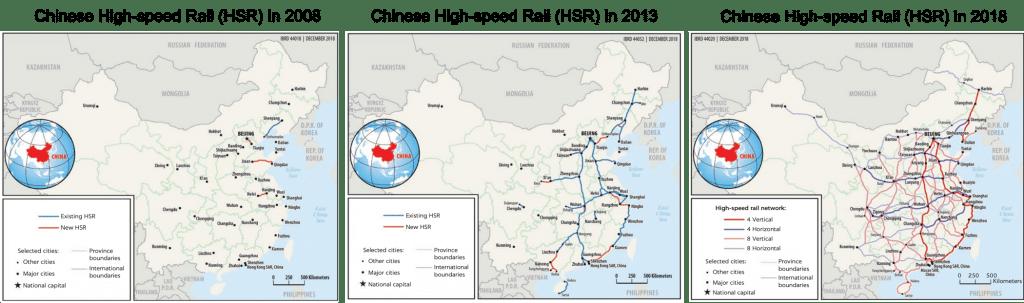 Chinese High Speed Rail (HSR) high-speed train network map (2007-2018)