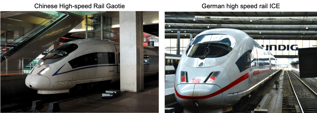German and Chinese high speed rail