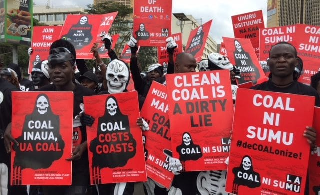 Protesters against the Lamu Coal Fired Power Plant in China