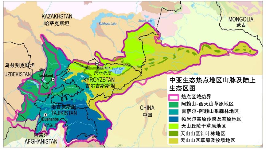 图1. 中亚山脉生物多样性热点及六个重要陆地生态区
