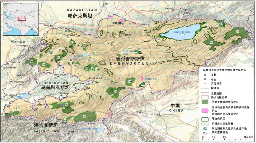 图2. 吉尔吉斯斯坦主要生物多样性保护区(绿色区域)、重要鸟类保护区(粉红色)和环境保护区(深绿色边界)